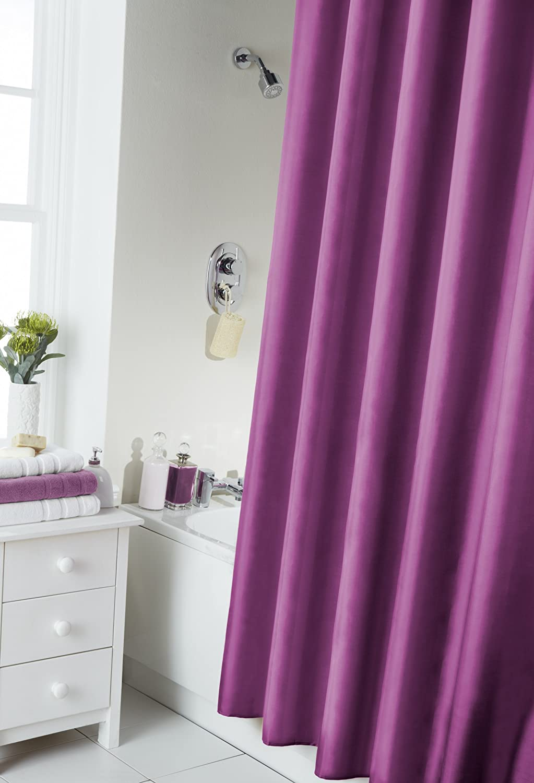 Bathroom bath shower curtain with hooks plain black white cream pink - Vibrant Berry Purple Shower Curtain 180cm X 180cm Includes Rings Amazon Co Uk Kitchen Home