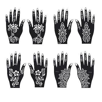 Amazon Com Henna Tattoo Stencil Temporary Tattoo Temples Set Of 8