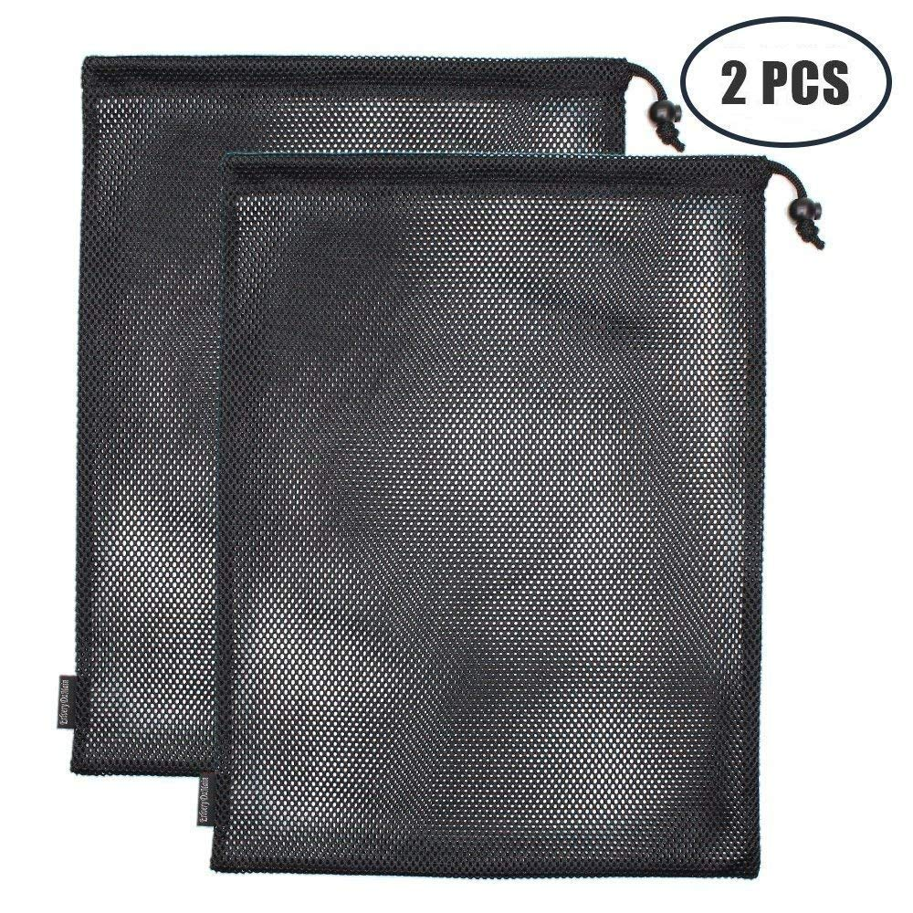 Erlvery DaMain 2pcs Mesh Equipment Bag Drawstring Storage Ditty Bags Stuff Sack for Travel & Outdoor Activity