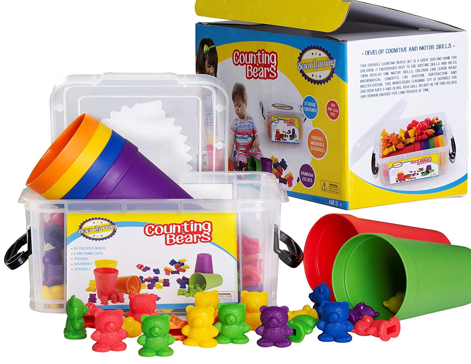 Counting/Sorting Bears Toy Set with Matching Sorting Cups in Storage case – Best Fun Educational Toy for Kids Ages 3 and up - for Learning, STEM Education, Mathematics, Counting & Sorting Toys