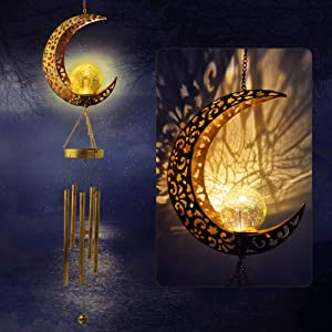 JOBOSI Moon Wind Chimes, Moon Gifts, Moon Decor, Garden Decor, Garden Gifts, Sympathy Gift, Wind Chimes Outdoor, Gifts for mom, Gifts for Grandma, mom Gifts, Memorial Wind Chime