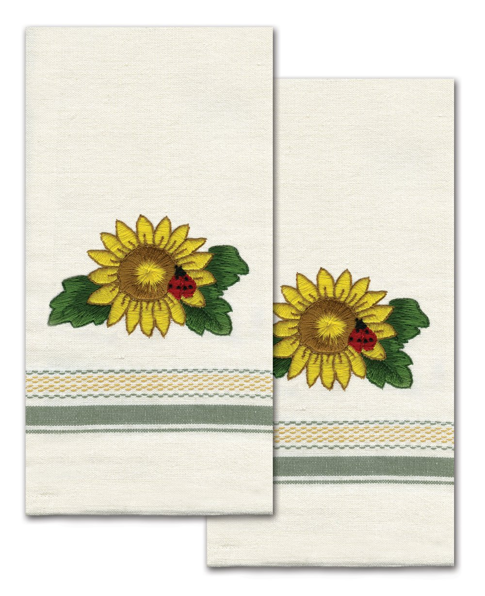 Tobin T212940 Stamped Kitchen Towel for Embroidery, Sunflower
