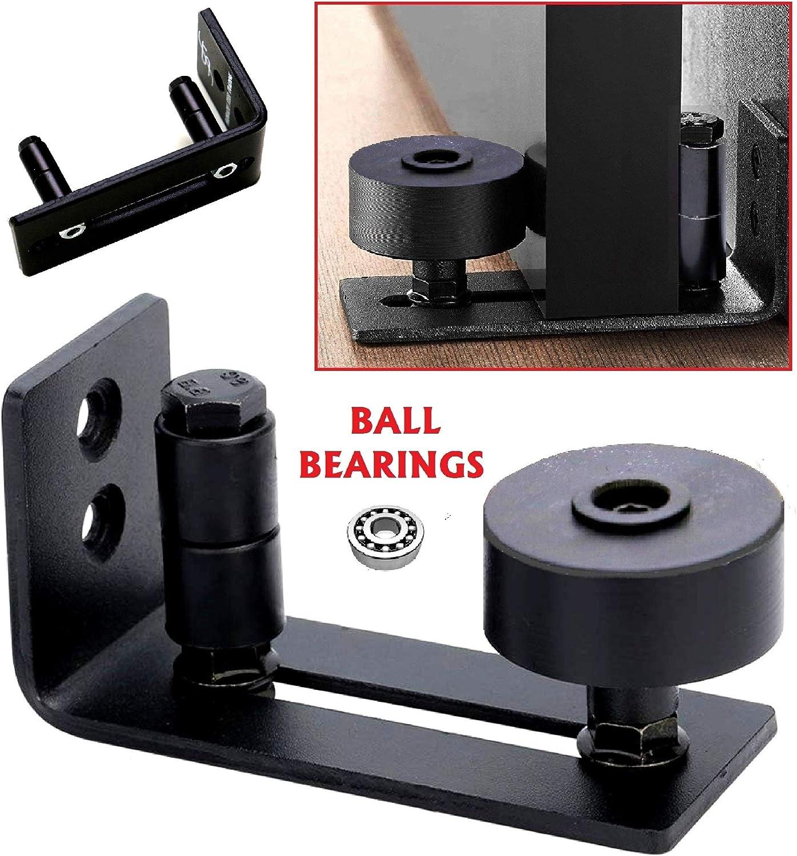 FLORADIS SMALL STAY ROLLER FLOOR GUIDE for BOTTOM of SLIDING BARN DOORS// FLUSH TO FLOOR// ULTRA SMOOTH FULLY ADJUSTABLE HARDWARE// MULTIPLE SETUPS// BLACK WALL MOUNT STOP GUIDES// BALL BEARINGS WHEELS