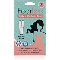 Fearless Tape - Womens Double Sided Tape for Clothing and Body, Transparent Clear Color for All Skin Shades, 50 Count.