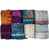 Mango Gifts Women's Silk Sari Fabric Scarves Scarfs 5 Strips Patti Trendy Stole