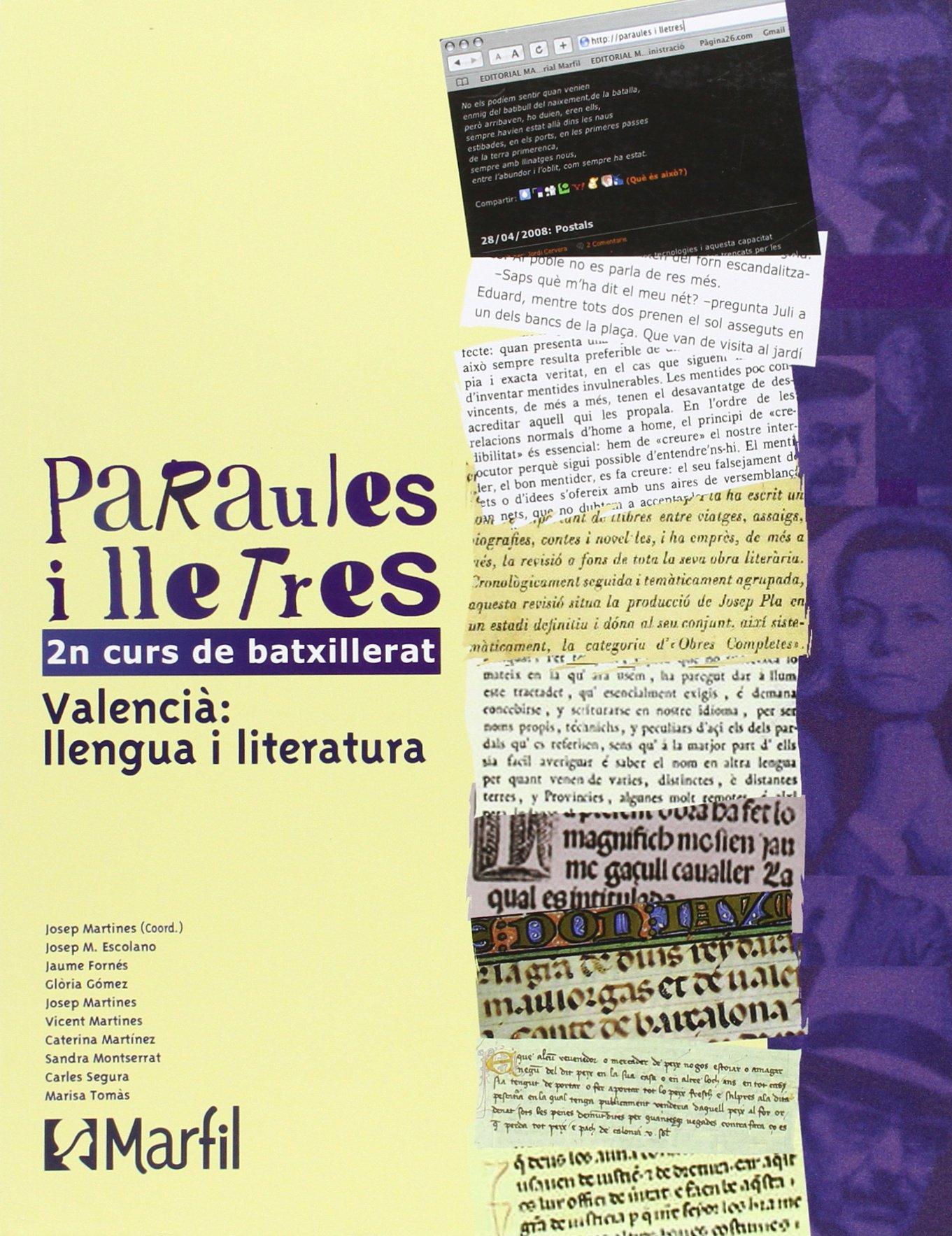 Bach 2 - Paraules I Lletres 2 Batxillerat Pau valencia - 9788426815217: Amazon.es: AA.VV.: Libros