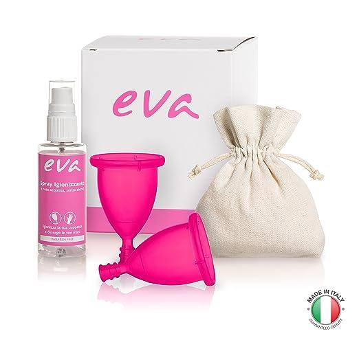 19 opinioni per Eva- Kit con 2 Coppette Mestruali Super-Soft + Spray Igienizzante- 2 taglie e 2