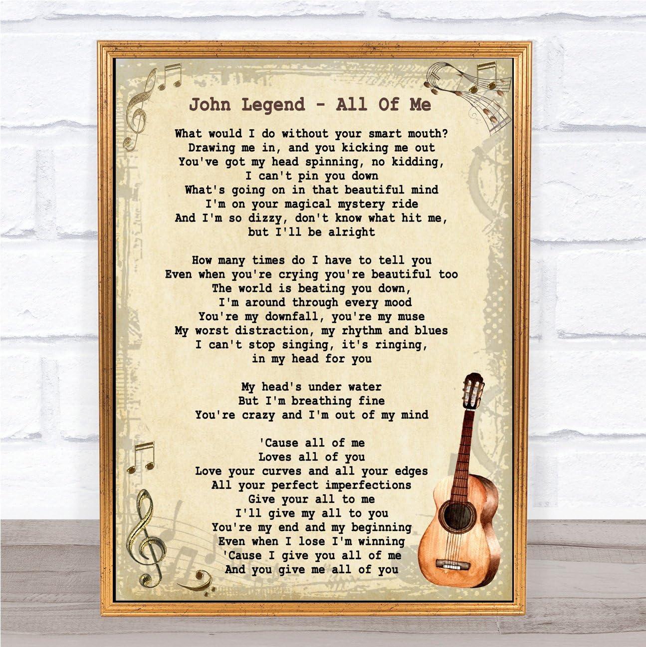 John Legend All Of Me - Liric con cita vintage: Amazon.es: Oficina ...