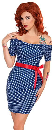 1950s Costumes- Poodle Skirts, Grease, Monroe, Pin Up, I Love Lucy Forum Novelties Womens Retro Rock Betty Blue Costume $11.75 AT vintagedancer.com