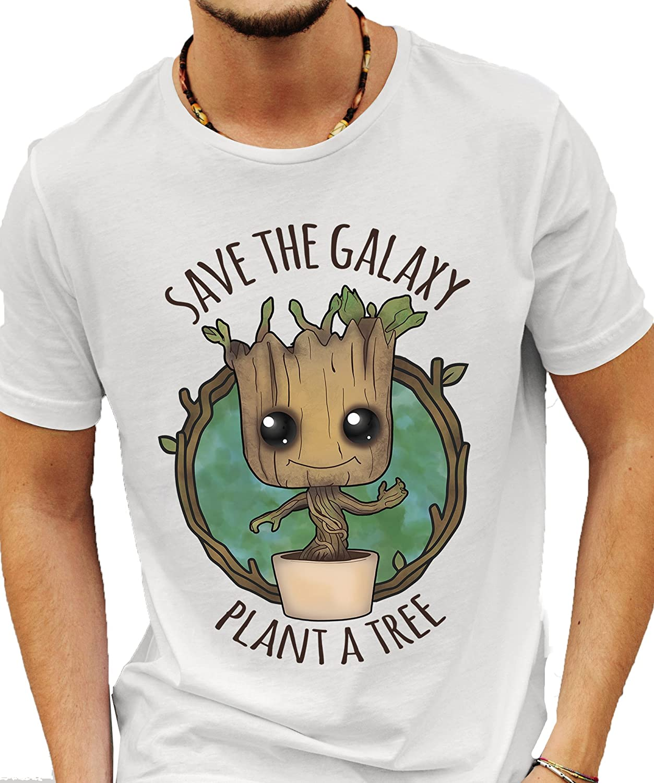 MerchDistributor Merch Distributeur 'Save The Galaxy Plante Un Arbre' Guardians of The Galaxy–Baby Groot T-Shirt Blanc