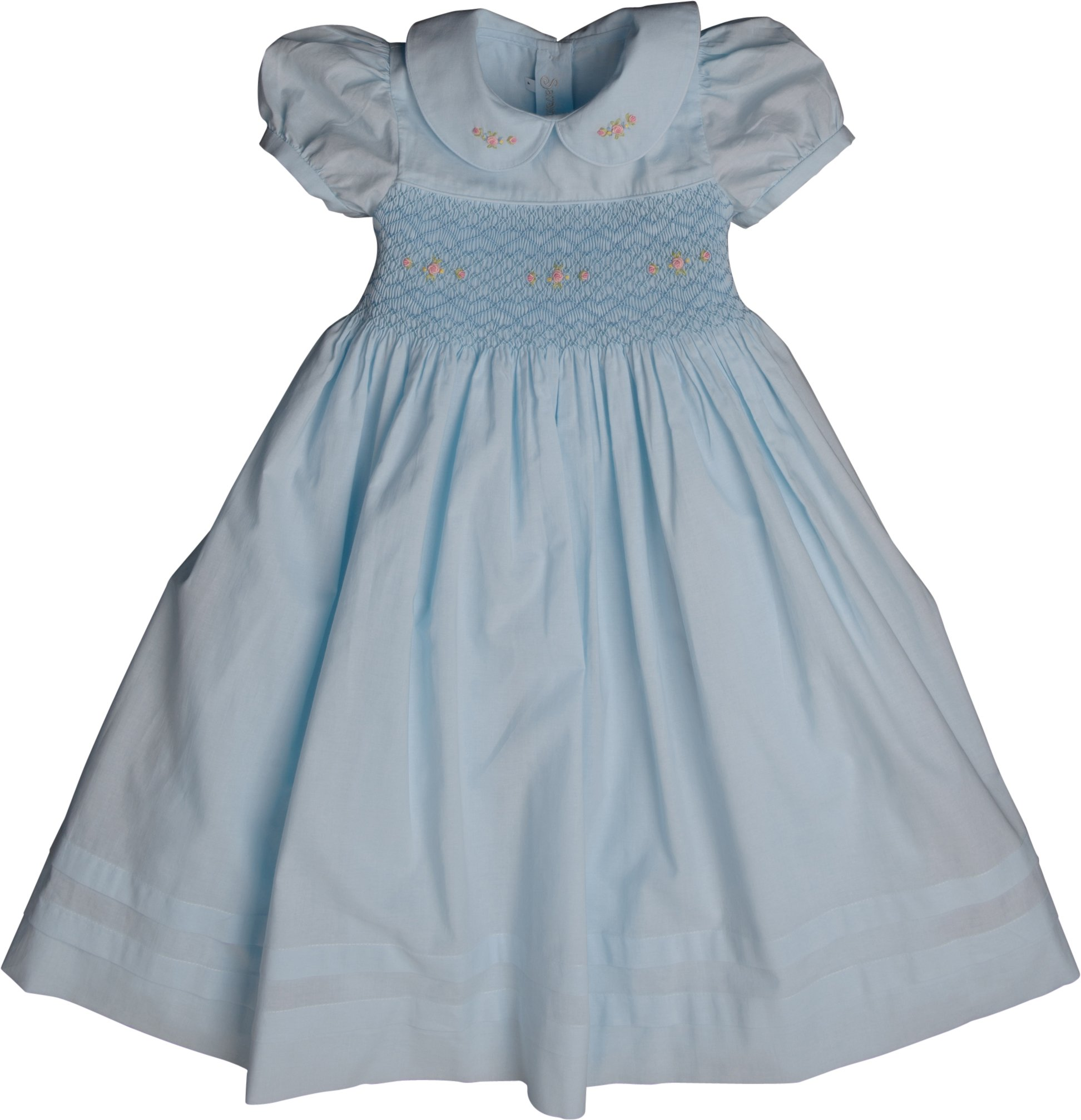 Strasburg Children Little Girls Madison Smocked Dress Light Blue Heirloom Photo Birthday Gift (6)