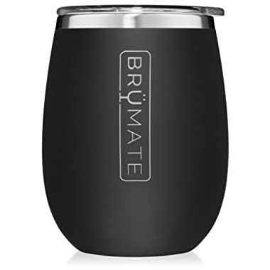 BrüMate Uncork'd XL 14oz Wine Glass Tumbler With Splash-proof Lid - Made With Vacuum Insulated Stainless Steel (Matte Black)