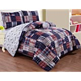 Grand Linen 4 - Piece Kids (Double) Full Size Baseball Sports Theme Comforter Set with Plush Toy Included-Navy Blue, Red, White and Beige Plaid. Boys, Girls, Guest Room and School Dormitory Bedding