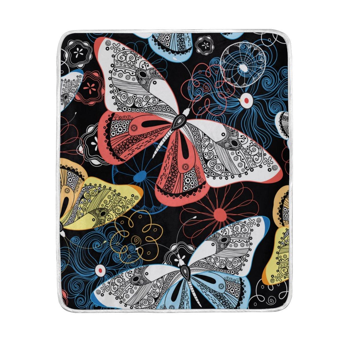 My Little Nest Warm Throw Blanket Fancy Butterflies Lightweight Microfiber Soft Blanket Everyday Use for Bed Couch Sofa 50'' x 60''