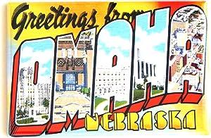 Greetings From Omaha Nebraska Fridge Magnet (2 x 3 inches)