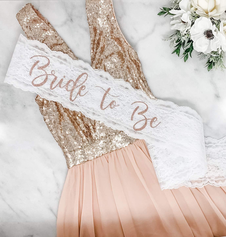 "B07CGSZTZT Lace Bachelorette Sash - White Lace - Rose Gold""Bride To Be"" 81ztzX32BY5L"