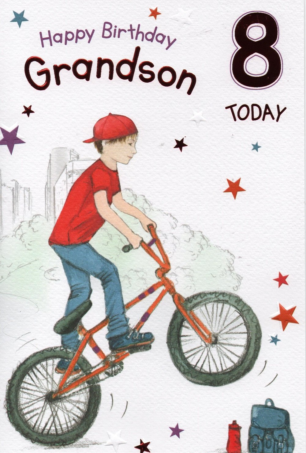 Grandson 8th birthday Card Amazoncouk Office Products – Birthday Card Grandson