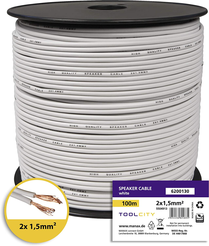 2/x 1,50/mm/² Zwilling Litz Transparente toolcity Cable de Altavoz Box Cable Cable de audio//30/m