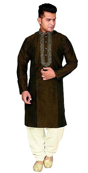 Desi Sarees Hombre Kurta Shalwar Kameez Pijamas para Boda Sherwani 1823 (L (Cofre -