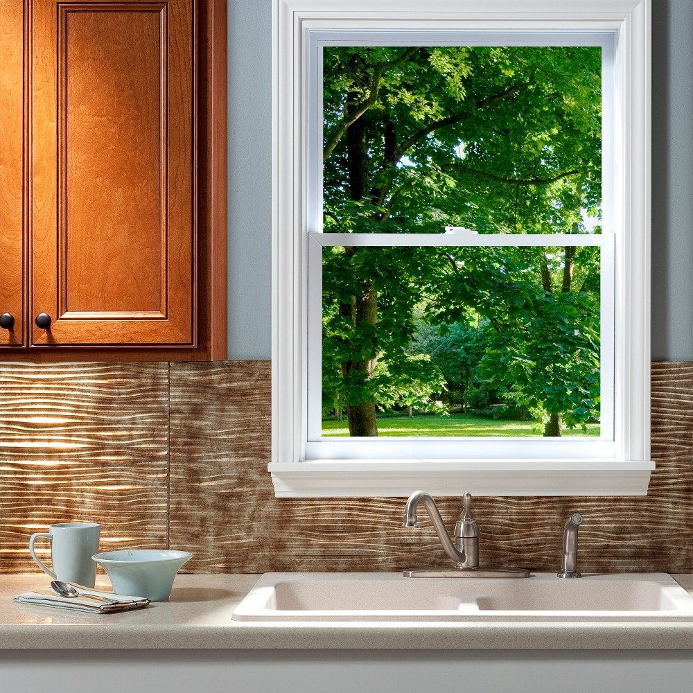 Fasade Easy Installation Waves Gloss White Backsplash Panel for Kitchen and Bathrooms 18 x 24 Panel