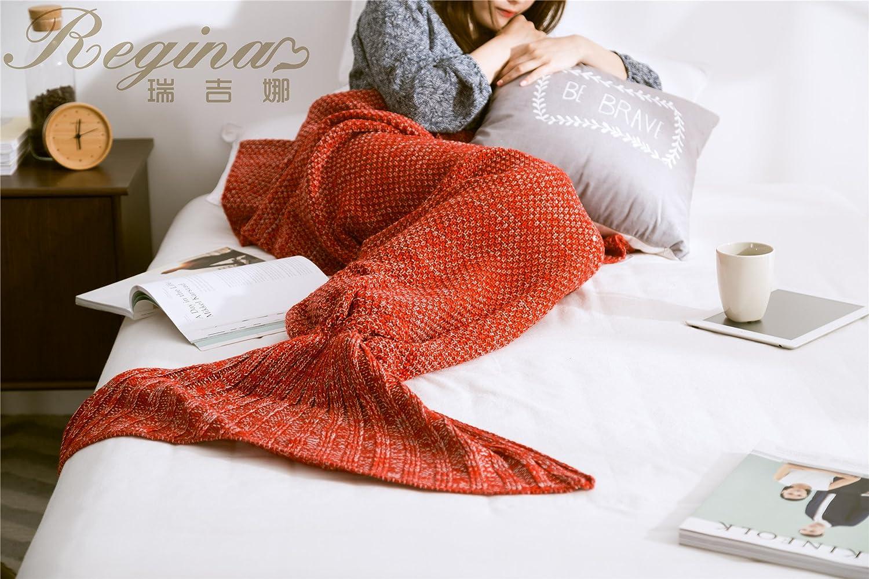 Knitted Mermaid Tail Blanket Crochet Mermaid Throw Sofa Sleeping Blanket Throws (50x90cm Baby, Blue) NOVA HomeTex