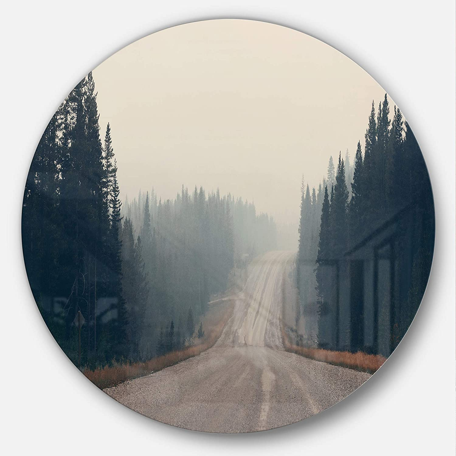 Designart Foggy Road In Forest In Banff Park Modern Seascape Large Metal Wall Art Disc Of 23 23 H X 23 W X 1 D 1p Home Kitchen