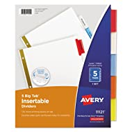 Avery 11121 Insertable Big Tab Dividers, 5-Tab, Letter