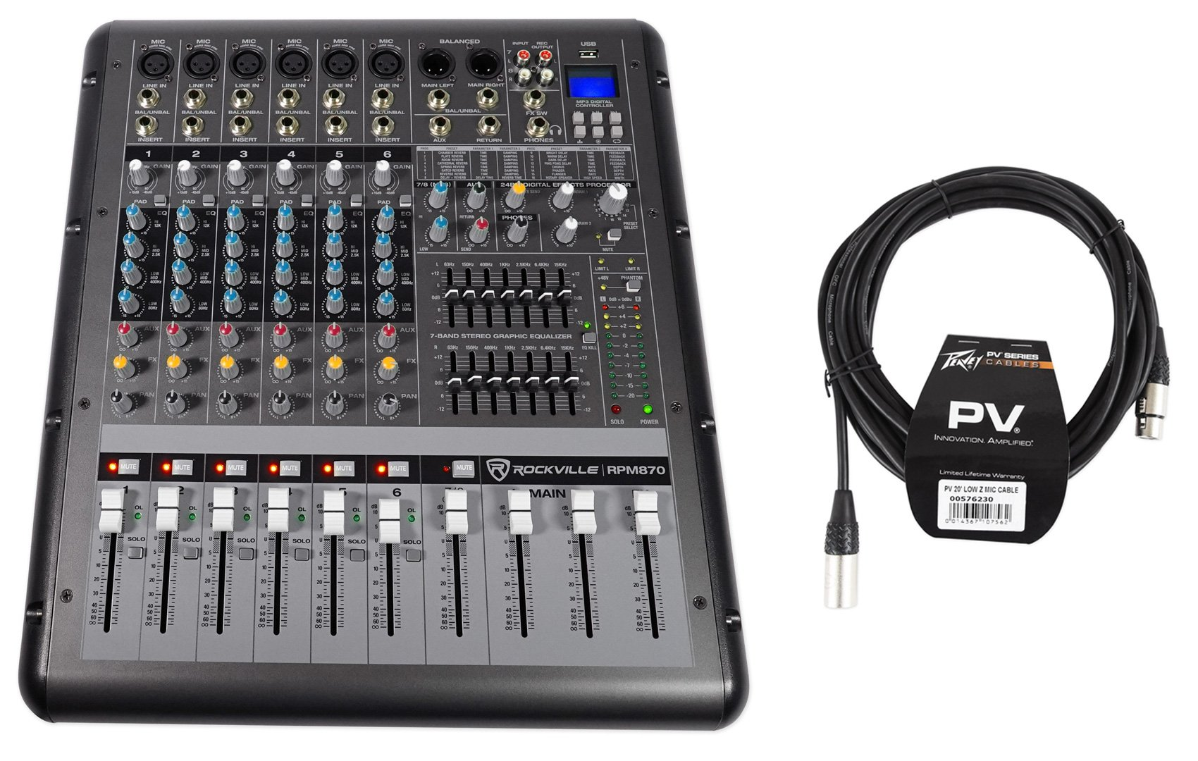 Rockville RPM870 8 Channel 6000w Powered Mixer w/USB, Effects+Peavey XLR Cable by Rockvile