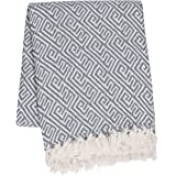 """SLPR 100% Cotton Indoor/Outdoor Machine Washable Throw (50"""" x 60"""", Light Grey) 