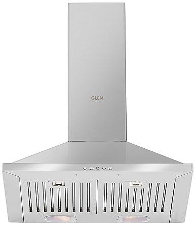Glen 60cm 1000 m3/hr Chimney (6075 SS BF LTW, 2 Baffle Filters, Steel/Grey)
