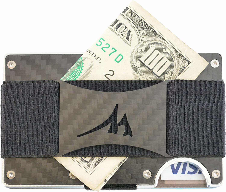 Martrams Carbon Fiber Credit Card Holder RFID Blocking Money Clip Wallet