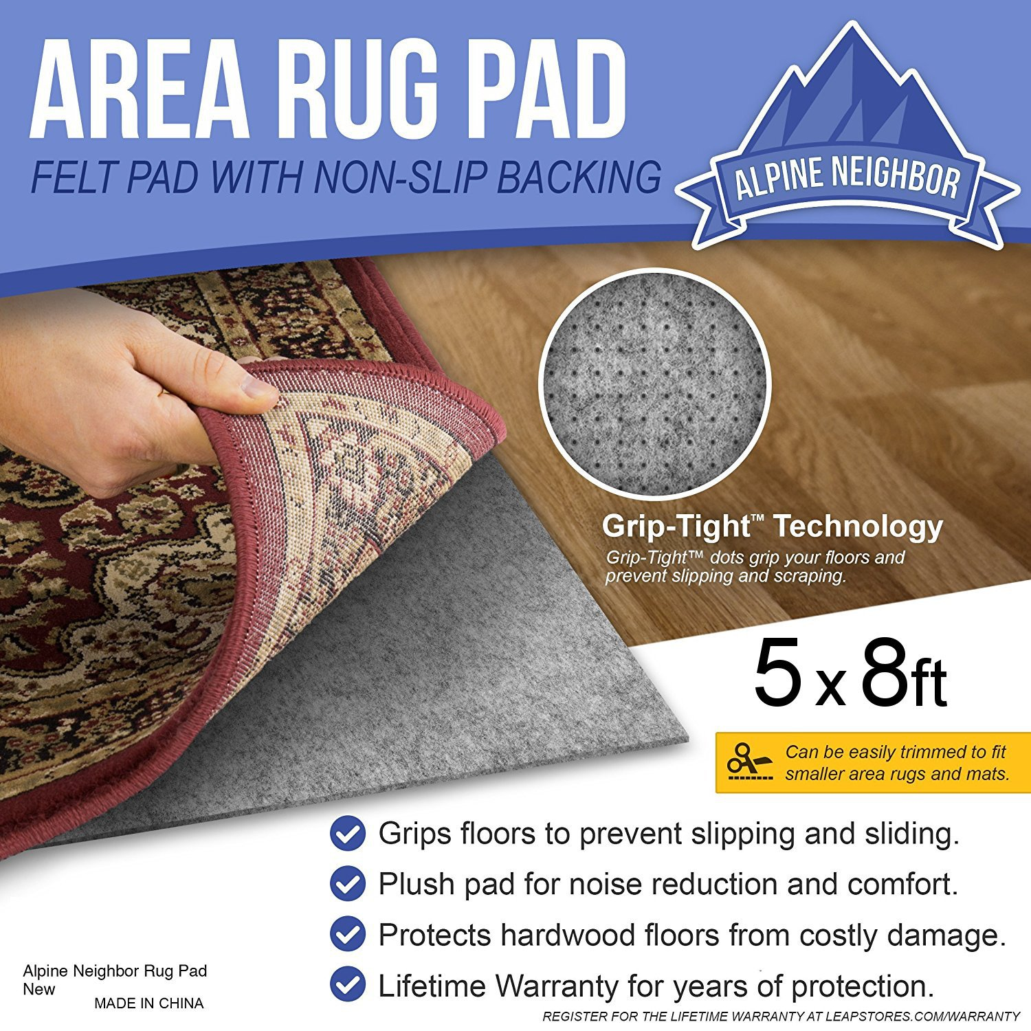 Alpine Neighbor Area Rug Pad with GRIP TIGHT Technology (5x8) | Non Slip Padding Perfect for Hardwood Floors | Thick Felt Cushion for Rugs Nonskid Kitchen Persian Carpet Mat Natural Grey by Alpine Neighbor (Image #5)