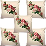 AEROHAVEN™ Set of 5 Decorative Hand Made Jute Throw/Pillow Cushion Covers - CC-07 - (16 Inch x 16 Inch, Beige)