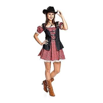 Kostümplanet Cowgirl-Kostüm Damen Cowboy-Kostüm Western Kleid Größe ...