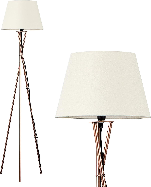 Modern Copper Metal Tripod Floor Lamp