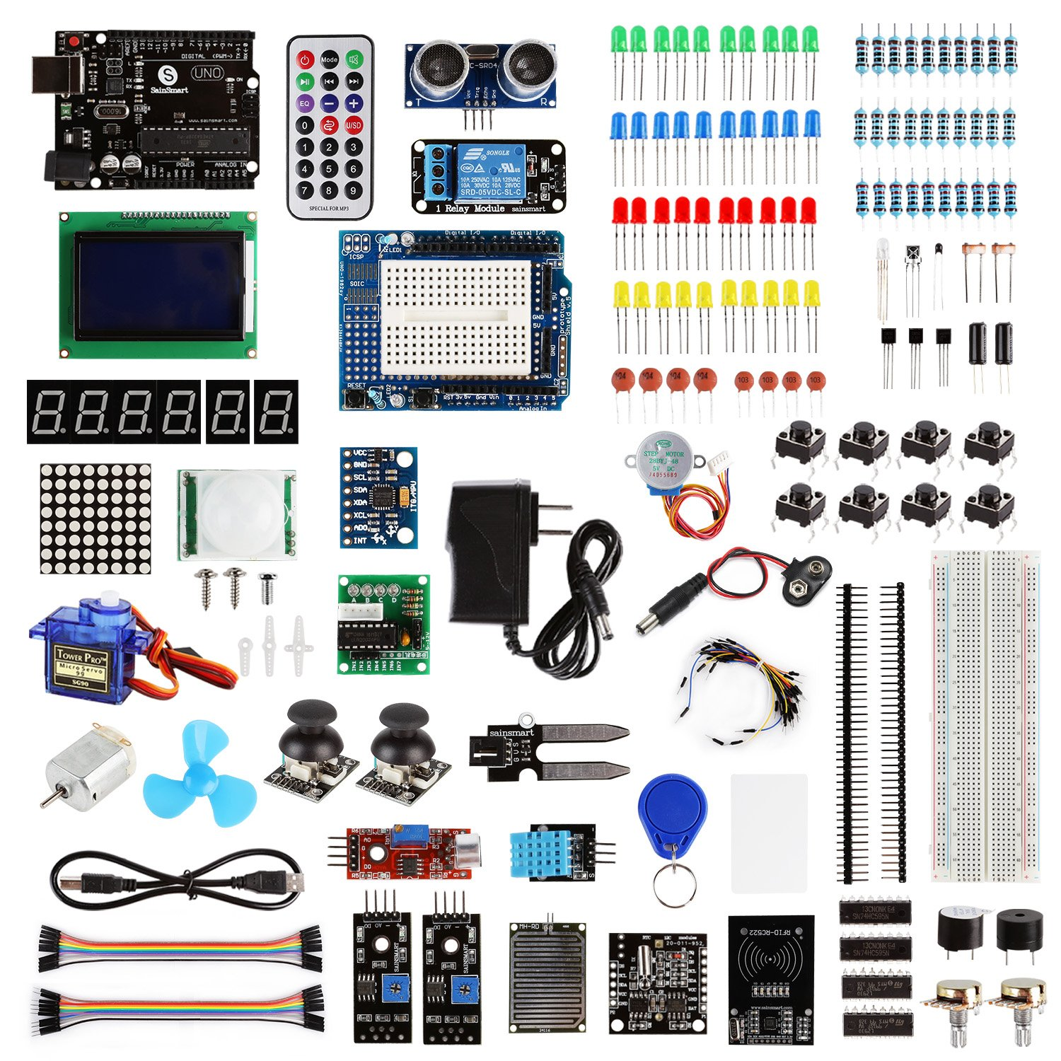 【SainSmart BAI】Arduino UNO Ultimate Starter Kit, w/ UNO R3, LCD, 7 Sensors, 3 Motors, 100+ Components by SainSmart
