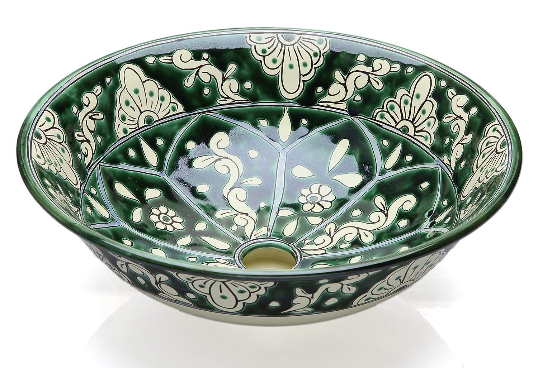 Baila Cerames - Lavabo in stile messicano, 40,5 x 15 cm, colore: verde