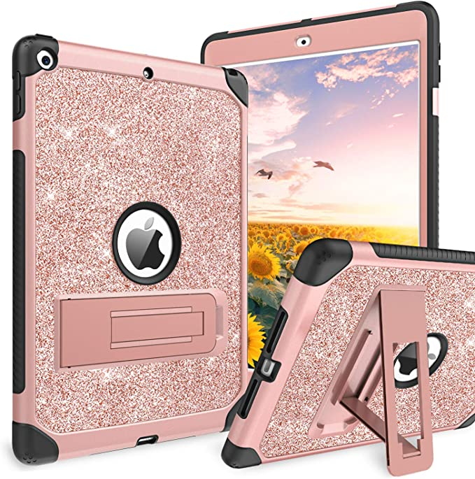 Case for iPad 7th Generation//iPad 10.2 2019,Glitter Bling Smart Cover for iPad 7th Gen 10.2 Inch 2019,MOIKY Blue Folio Stand PU Leather Magnetic Wallet Protective Case with Pencil Holder
