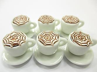 Dollhouse Miniatures Ceramic Coffee Tea Cup Set Mini Orange Beverage Supply Lot