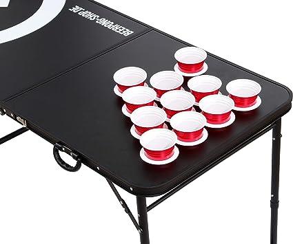 Audio Cup Hole Black Line Table Beer Pong Tisch inkl. 6 Bälle, Regelwerk & Becherhalter (50 Red Beer Cups)
