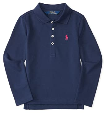 7cca03a2 Ralph Lauren Little Girls' Stretch Mesh Long Sleeve Polo Shirt, Navy Blue (6