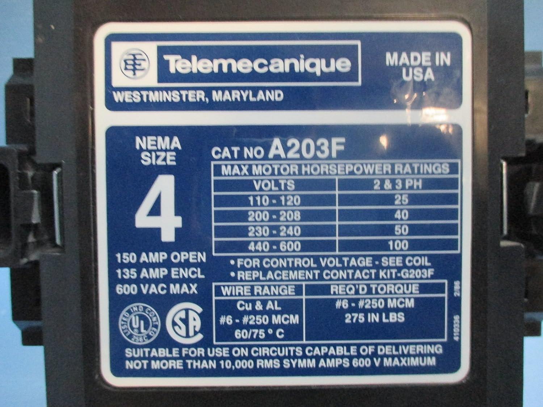 Telemecanique Square D A203F Size 4 Starter 150 Amp 600Vac 120V Coil ...
