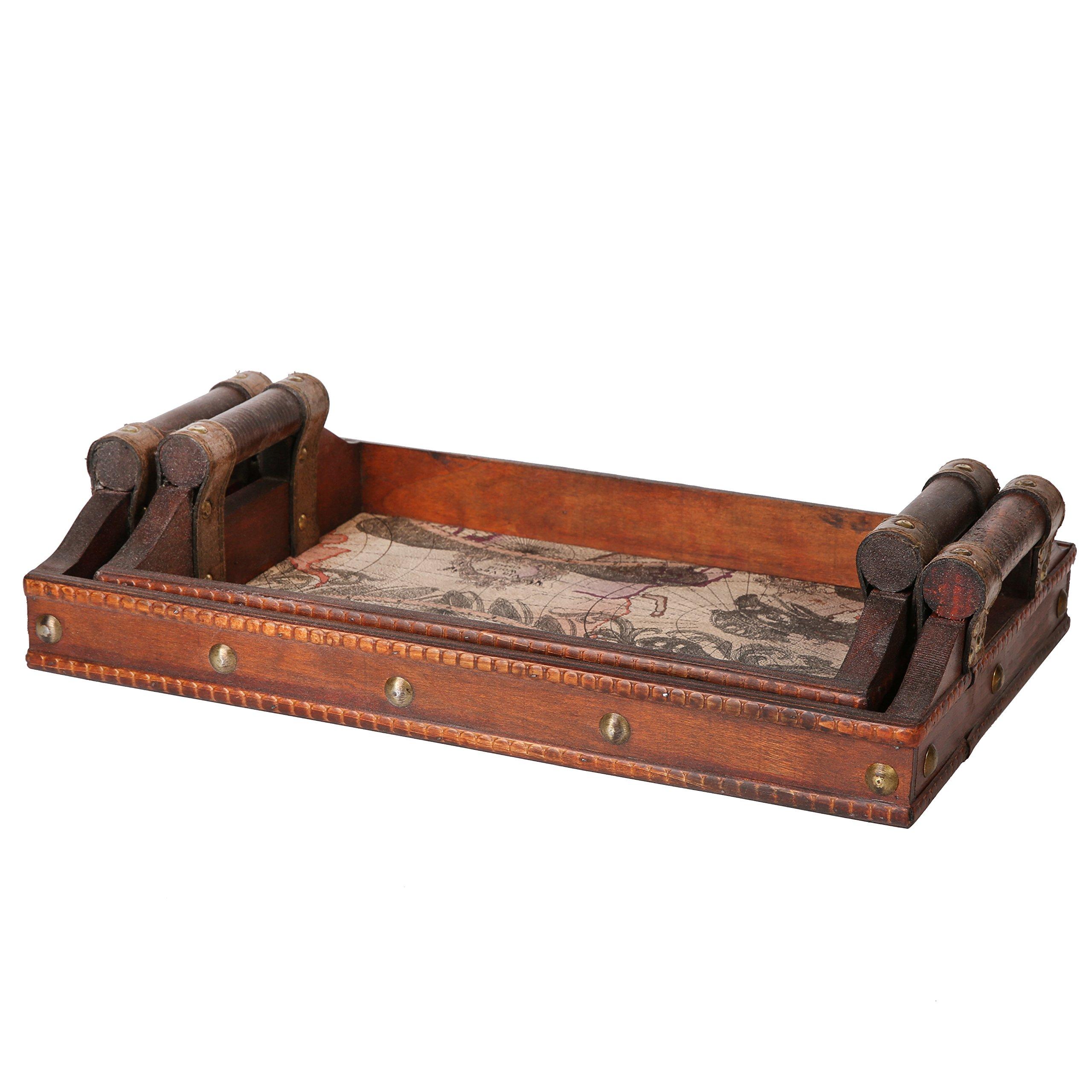 SLPR Worldly Wooden Designer Serving Tray Set with Handles (Set of 2) | Wood Nesting Rectangular Travel Themed Butler Breakfast Vintage Style Serving Tray by SLPR (Image #2)