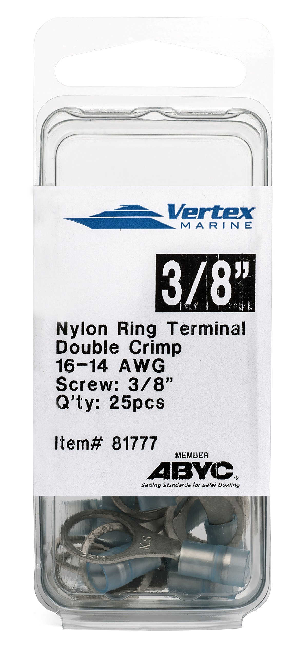 Ring Terminal Marine Grade - Nylon Insulated - Double Crimp - A81777 - 16-14 AWG - 3/8'' Stud - 25 Pack