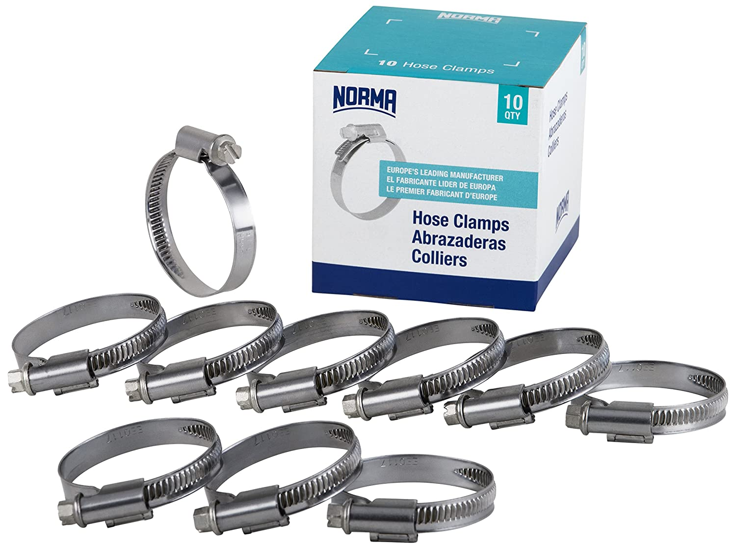 NORMA 01266704010-000-0538 Hose Clamps 8 mm-12 mm x 9 mm W4 Pack of 10