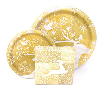 Glistening Reindeer Deluxe Christmas Holiday Paper Plates and Napkins for 18 by Craftmaster  sc 1 st  Amazon.com & Amazon.com: Glistening Reindeer Deluxe Christmas Holiday Paper ...