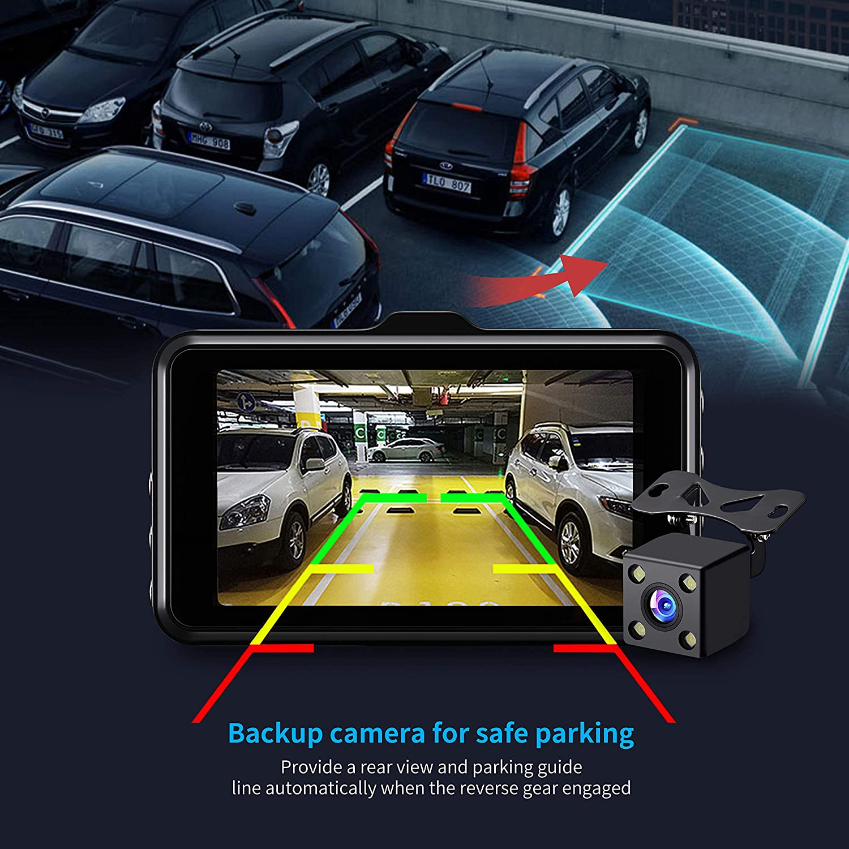 Upgrade Lens Dash Cams for Cars Front and Rear Full HD 1080P Backup Car Camera,3 inch Dashboard Camera with Night Vision,170/°Wide Angle,G-Sensor,Parking Monitor,Loop Recording