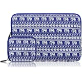 Arvok 15 15.6 16 Inch Canvas Fabric Laptop Sleeve Colorful Pattern With Extra Bag/Notebook Computer Case/Ultrabook Tablet Briefcase Carrying Bag/Pouch Cover For MacBook Air/Pro/Acer/Asus/Dell/Lenovo/HP/Samsung (Elephant Blue)