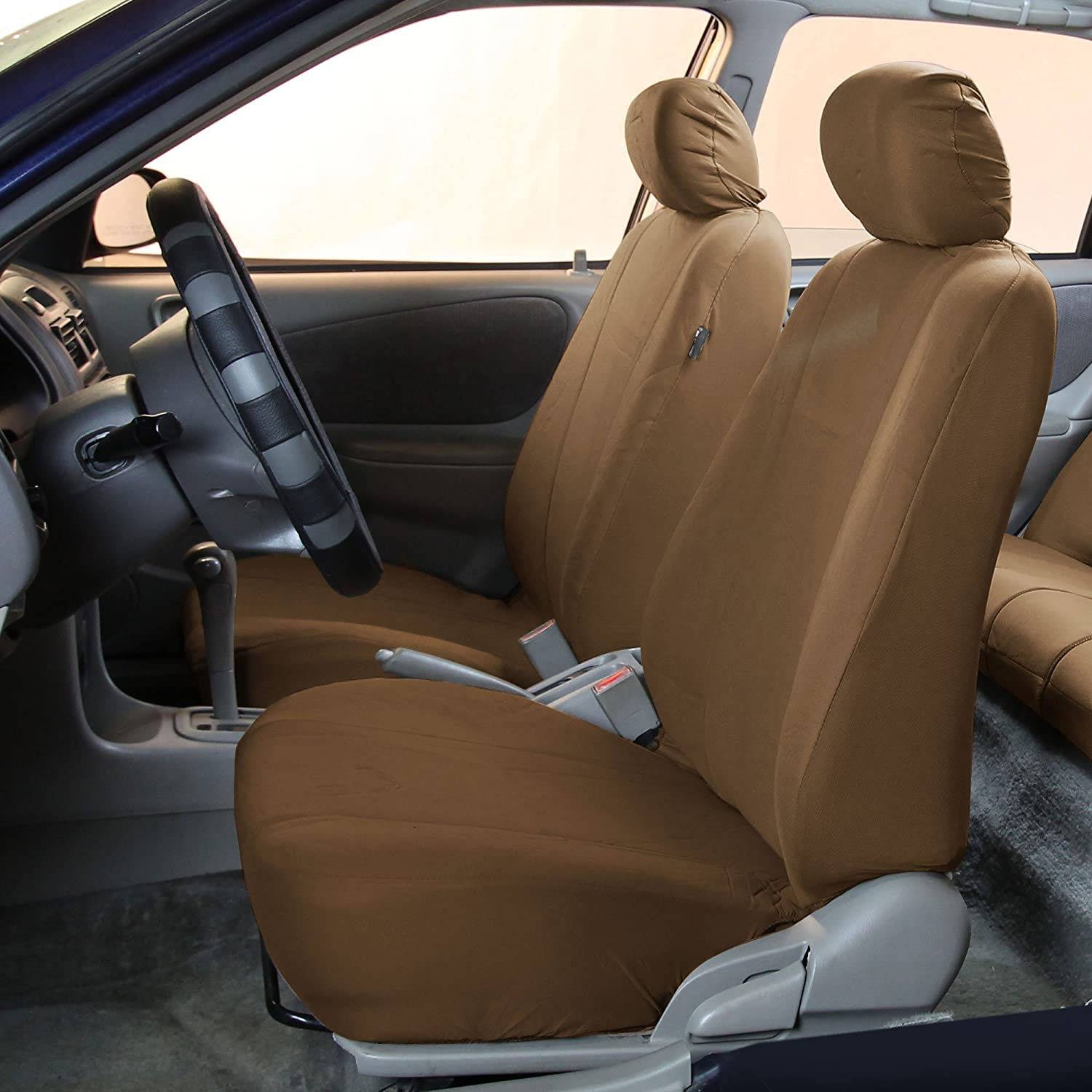 Amazon FH GROUP FB052115 Full Set Multifunctional Flat Cloth Car Seat Covers Airbag Ready And Split Taupe Color