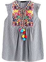 Floerns Women's Sleeveless Ruffle Striped Embroidered Pom Pom Tie Neck Blouse